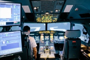 The A320 Simulator replicating the landing procedure of an Airbus A320.