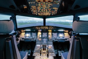 An A320 glass cockpit is equipped with an all-digital display