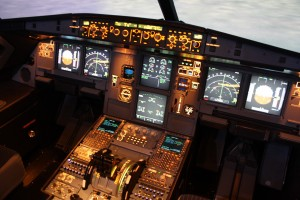 A glass cockpit in a modern aircraft
